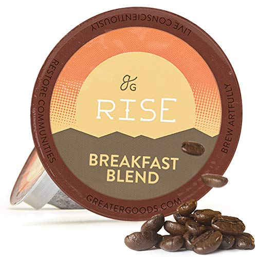 GreaterGoods Kcup Coffee Light Roast (72 Count) For Keurig Coffee Maker K-Cup Replacements, Breakfast Blend Eco Safe Coffee Pods (Light Roast Breakfast Blend)