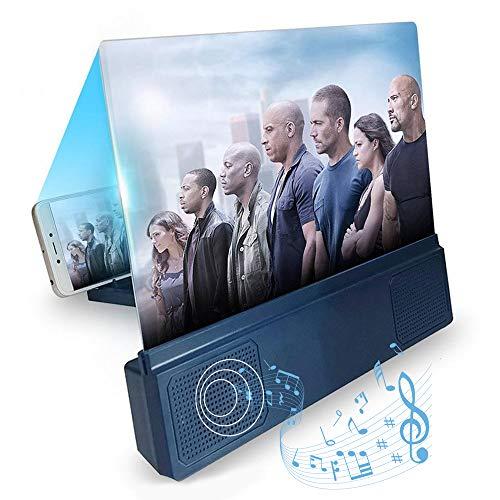 DokFin Lupa de Pantalla de teléfono móvil con Altavoz bleutooth, 12 Pulgadas Ampliadora De Pantalla De Smartphone HD 3D, Amplificador de Pantalla para teléfono con Soporte Plegable para Ver Películas
