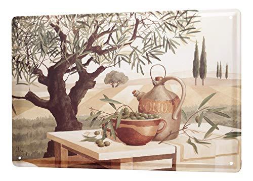 Blechschild Welt Reise Gemälde Olivenbaum Schale Wand Deko Schild 20X30 cm
