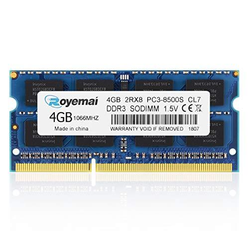 DUOMEIQI 4GB DDR3 1066MHz PC3-8500 Unbuffered Non-ECC 1.5V CL7 2Rx8 Dual Rank 204 Pin SODIMM Portatil Memoria Principal Module Upgrade