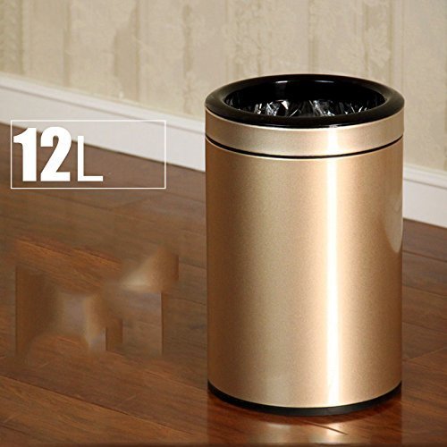 Stainless Steel Trash Can Met Pressure Ring Double-layer zonder deksel grote huishoudelijke Keuken vuilnisemmer Bucket prullenbak (Kleur: Licht paars) LOLDF1 (Color : Champagne Gold)