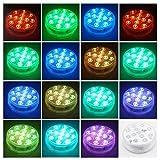 Luz subacuática IP68 impermeable para piscina con mando a distancia RF, 13 LED, 16 colores cambiantes para piscina, jarrones, acuarios