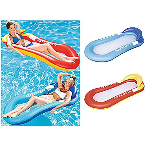 Queta Water Hammock, Swimming Pool Beach Floating Recliner Inflatable Floating Bed Lounge Chair Drifter Swimming Pool Beach Float Red