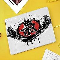 iPad Air 10.5 ケース/iPad Pro 10.5 ケース 薄型 オートスリープ機能 三つ折りスタンド組んだ侍と旧封建時代の日本軍の象形文字紋章プリント