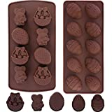 Konsait 2 Pack Easter Silicone Chocolate Candy Gummy Molds, Easter Eggs Bunny Basket Shape Baking Mould for Easter Party Favor Kitchen Baking ToolsChocolate Mold