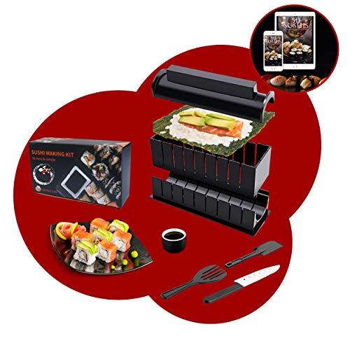 luspo Le Sushi Maker Moules à Sushi Complet + Le Guide de 50 Recettes Offertes - 12 Pièces – avec Couteau Expert A Sushi- Vous Allez Enfin réussir Vos sushis et Votre Riz du Premier Coup Cadeau Japon