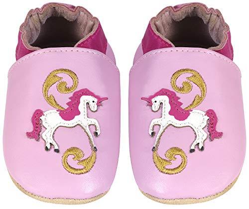 Pompöös Krabbel-Schuhe aus echtem Leder für Babys und Kleinkinder, Kita-Schuhe / Schläppchen / Baby-Schuhe / Kinderschuhe Design Einhorn, Gr. 18/19