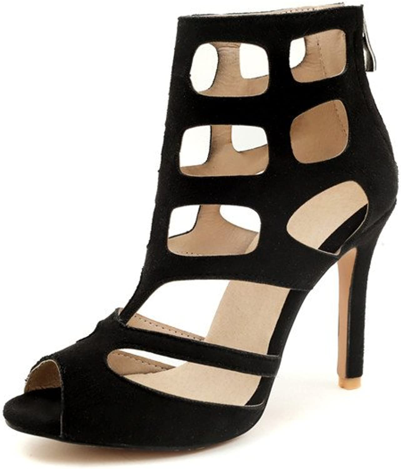 Women's Sandals Summer Fashion Personality Stiletto Heel Large Size Lady's High Heels Pumps 32-46,Black,34