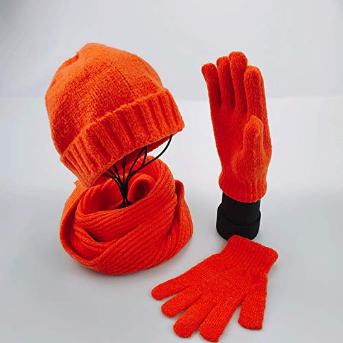 Schal EIN Set Unisex Herbst Winter Einfarbig Abgestimmte Acrylmützen Snood Handschuhe Kaschmir Unisex Warme Mütze Schal Handschuhe Orange