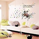 YLMJK Pegatinas De Pared Equitación chica 116x42cm Decorativos para Dormitorio Habitación Infantiles Vinilos Adhesivos Pared Diy Para Niños Etiqueta pared