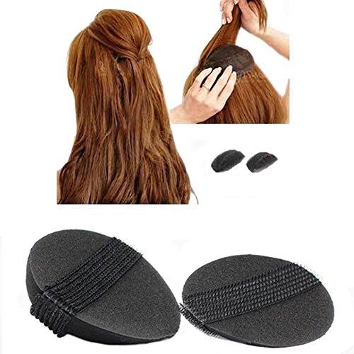 4Pcs/2Pair Sponge Bump It Up Volume Hair Base Styling Insert Tool Hair Accessories, Black