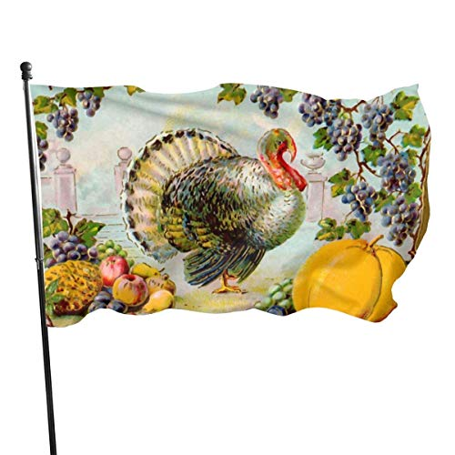 N / A Bannière,Drapeau,Thanksgiving Turkey Polyester Flag-Vivid Color and UV Fade Resistant for Outdoor/Indoor Use 150X90 Cm
