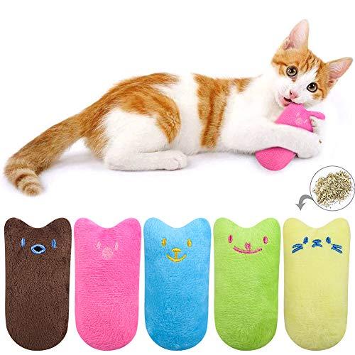 atnight Katzenminze Plüschtiere, 5 Stück süße Plüsch Daumenform Katzenminze Kissen Interaktives Kauspielzeug Katzenminze Spielzeug Spiele Set Geeignet für alle Katzen und Kätzchen