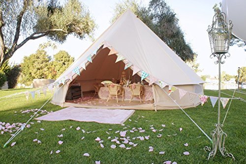 Cozy House Outdoor Waterproof Four Seasons Luxury Family Camping Bell Tent with Meshed Door and Windows