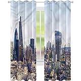 Cortina opaca para ventana de paisaje urbano de Londres, vista a la ciudad, W52 x L72, cortinas de oscurecimiento para sala de estar