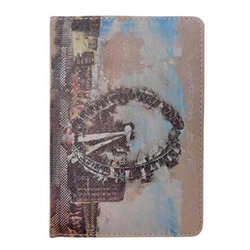 MEKU PU Leather Passport Cover Holder Fashion Passport Wallet Vintage Travel Wallet Case with Old Stamps and Signs