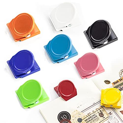 CMD マグネットクリップ 冷蔵庫 磁石 強力 ファイル紙固定 カラフル 9色 9枚セット