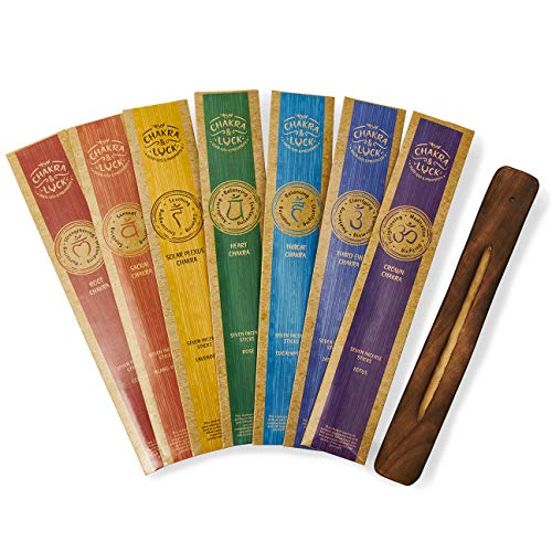 Chakra & Luck Ultra Premium Natürliche Räucherstäbchen, 7 Chakren von Krone bis Wurzel - 49 Stück Sorte Geschenkpackung mit Bonus Holzhalter
