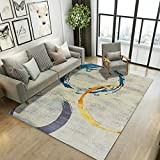 La Alfombra alfombras Cocina Alfombra Suave con diseño de Anillo geométrico Azul y Amarillo fácil de Limpiar alfombras habitacion Matrimonio decoración para Dormitorio de bebé 60*90CM