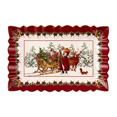 Villeroy & Boch Toy's Fantasy Piatto per Torta a Forma di Babbo Natale con Slitta, Porcellana, Multicolore, 35 x 23 x 3,5 cm