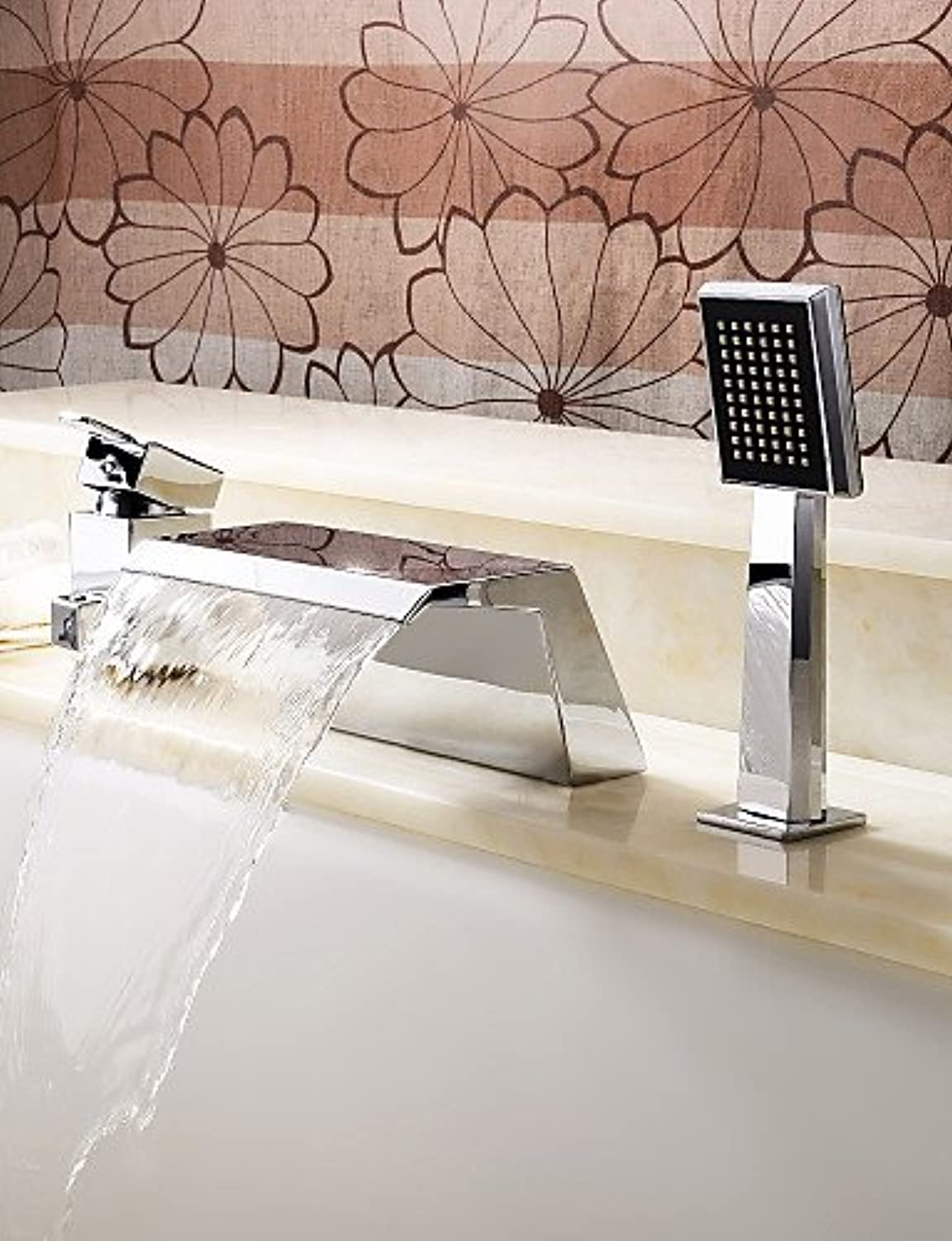 KHSKX Bathtub Faucet - Contemporary - Handshower Included   Waterfall - Stainless Steel (Chrome)