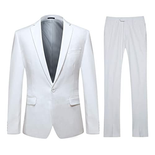 3d2b9f4928 YFFUSHI Mens One Button Formal 2 Piece Suits Slim Fit Multi-Color Wedding  Tuxedo