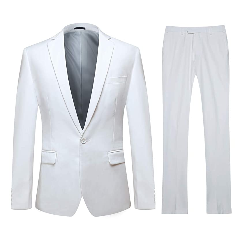 YFFUSHI Mens One Button Formal 2 Piece Suits Slim Fit Multi-Color Wedding Tuxedo