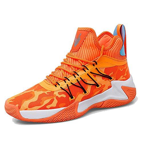 [Regibelie] メンズ ハイ トップ バスケットボール シューズ ファッション スニーカー クッション ランニング アスレチック アウトドア スポーツ シューズ オレンジ 25.5cm