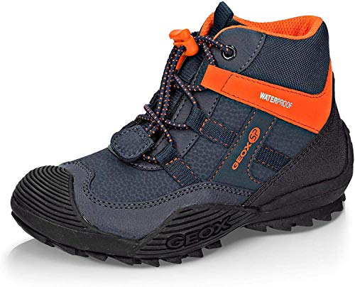 Geox Jungen Winterstiefel ATREUS Boy WPF, Kinder Stiefel,Winter-Boots,Outdoor-Kinderschuhe,warm,wasserdicht,Navy/ORANGE,38 EU / 5 UK