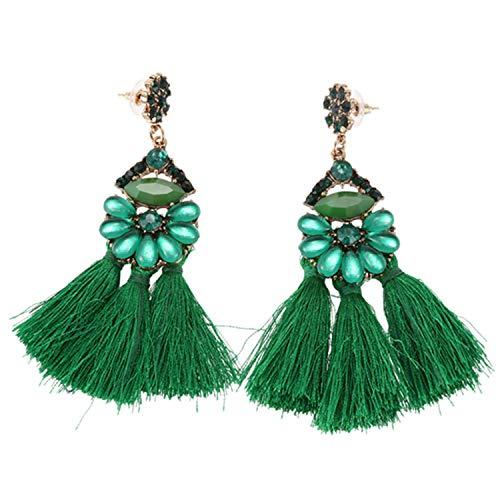 Fransande Pendientes colgantes para mujer, estilo bohemio, con flecos, para boda, color verde