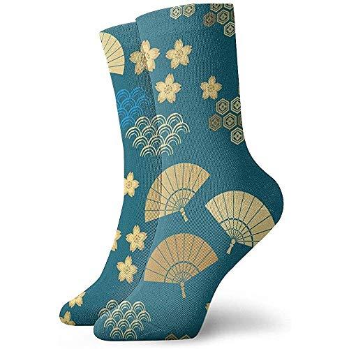 Kevin-Shop vouwen ventilator en bloem enkel sokken Casual Cozy bemanning sokken voor mannen, vrouwen, kinderen