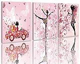 LB Coche,niña,Mariposa,Flor,Hada,Negro,Amarillo,Rosa_Imagen Impresa en Lienzo Arte de...
