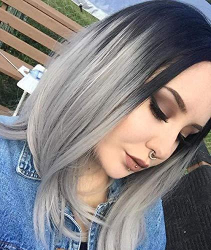 SLRMKK Perücke, Echthaarperücke, Perücke, schwarzer und Grauer Farbverlauf, Chemiefaser-Haarperücke, Haarperücken für Frauen mit vollem Kopf