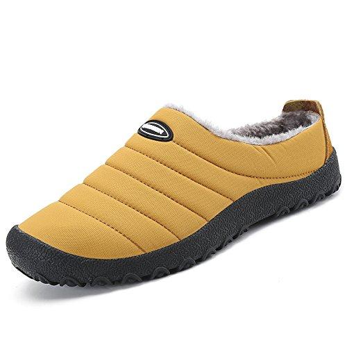 Saguaro Herren Damen Winter Hausschuhe Plüsch Warm Gefütterte Schneestiefel Slippers Outdoor Freizeit Schuhe, Gelb 38