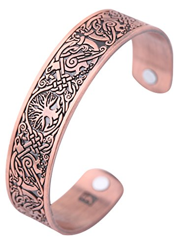 Viking Tree of Life Hugin Munin Raven Magnetic Barcelet, Celtic Knot Bangle (antique copper)