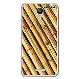 dakanna Funda Compatible con [Alcatel Pixi 4 3G (5.0 Inch)] de Silicona Flexible, Dibujo Diseño [Estampado de Madera bambú], Color [Borde Transparente] Carcasa Case Cover de Gel TPU para Smartphone