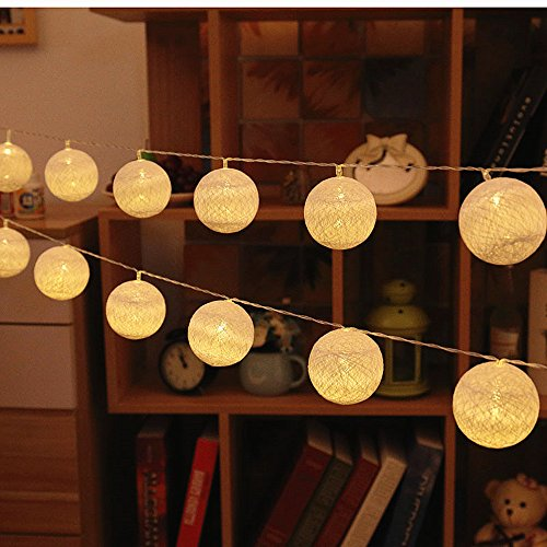 ELINKUME Bola de algodón cuerda ligera 3,3M 20LED blanco cálido linterna luz de hadas bateria cargada luces decorativas para fiesta/boda/festival