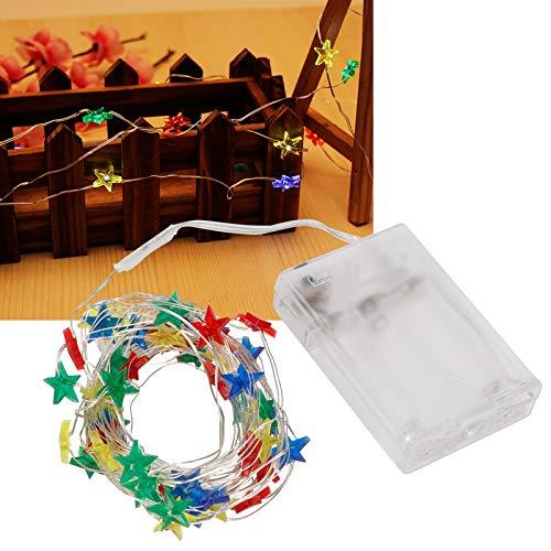 Cadena de luces, luz decorativa de estrella de cinco puntas, para uso en interiores y exteriores Árbol de Navidad al aire libre