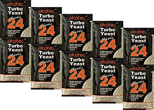 AlcoTec HUGBERT 24 Turbo Classic, Alkohol, Gärhefe Hefe, Schnaps, Brennhefe, Destillation, 10 Stück