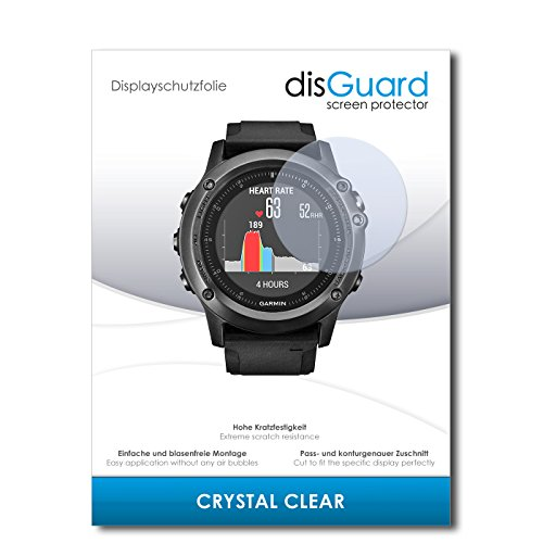 disGuard Bildschirmschutzfolie für Garmin Fenix 3 Saphir HR [2 Stück] Crystal Clear, Kristall-klar, Unsichtbar, Extrem Kratzfest - Bildschirmschutz, Schutzfolie, Glasfolie, Panzerfolie