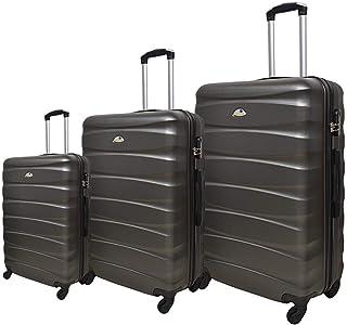 New Travel Solid Luggage Trolley Bag, 4 Wheels, 3 Pieces - Grey