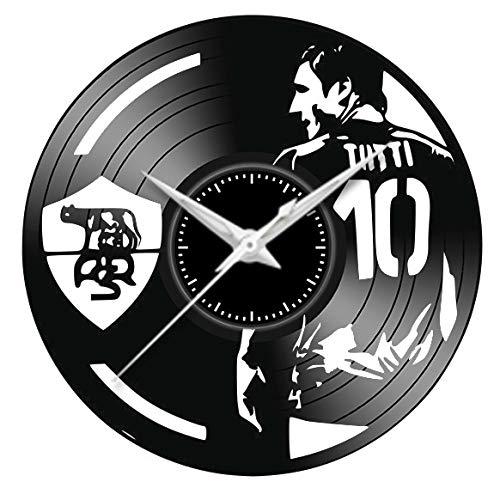 Fusorario Orologio in Vinile da Parete LP 33 Giri Silenzioso Idea Regalo A Tema Roma Totti