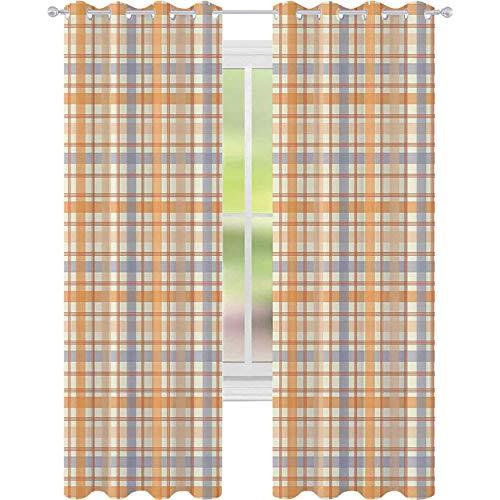 Cortinas opacas - aislamiento de juntas, patrón de cuadros celta clásico, rayas geométricas de azulejos tradicionales, cortinas de 52 x 72 para sala de estar, naranja, melocotón y azul claro