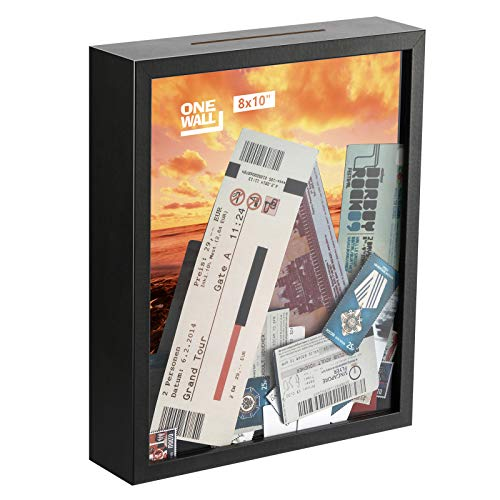 ONE WALL 8x10 Inch Shadow Box Display Case Black Wood Frame with Top Loading for Memorable Stamps, Tickets for Wall and Tabletop - Mounting Hardware Included