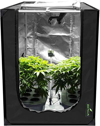 Senua 90x60x90cm 600D Mylar Hydroponic Water-Resistant Grow Tent with Observation Window and Removable Floor Tray, Tool Bag for Indoor Plant Seedling, Propagation, Blossom, etc (90 x 60 x 90 cm)