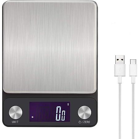 Toprime Balance de Cuisine Balance Numérique Balance de Poche Multifonction Rechargeable USB 5 kg / 0,1 g (noir)