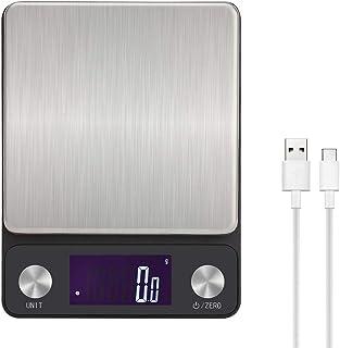 Toprime Balance De Cuisine, Balance Électronique Numérique, Rechargeable Par USB, Haute précision, Avec Écran LCD Rétro-éc...
