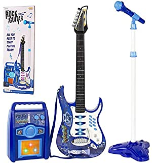 iMeshbean Electric Guitar Kit Set with Microphone, Wireless Amp, AUX. Educative Beginner Musical Instrument Set (BLUE)