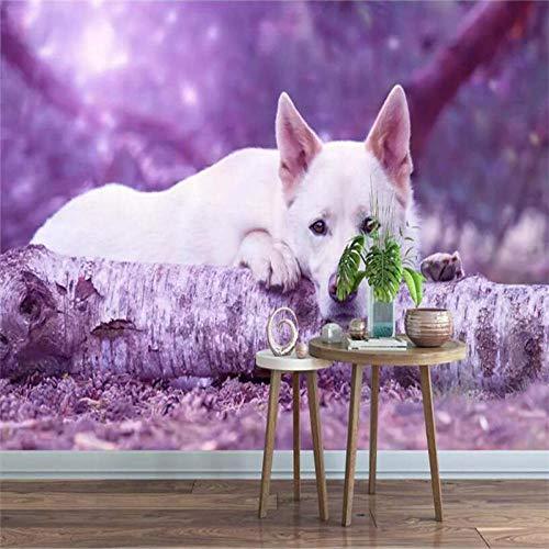 BHGJP Fondo De Pared De Sofá De Tv Dormitorio Autoadhesivo 3D (W)400X(H)280 Cm Púrpura De Nuevo Lindo Animal Cachorro Pet Shop Papel Pintado De La Foto De La Habitación De Los Niños Decoración De La