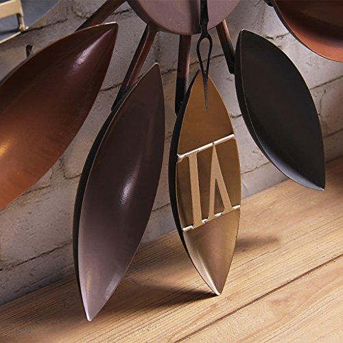 JLRQY Orologi Da Parete Iron Art Vintage Brown Fan Clock Decorazione Della Superficie A Parete Orologio Grande Per Bar Coffee Shop,C